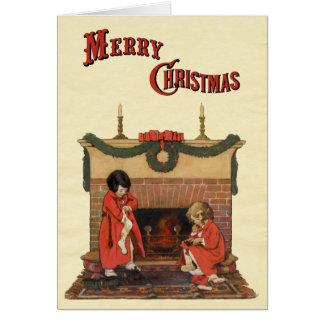 Carte Enfants par la cheminée par Jessie Willcox Smith