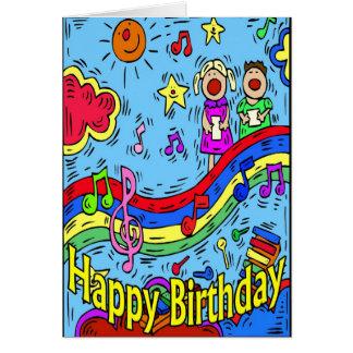 Carte Enfants signant le joyeux anniversaire