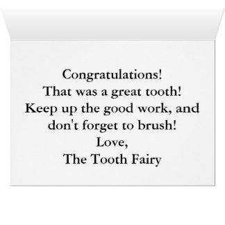 Carte Envoyez une note spéciale de la fée de dent !