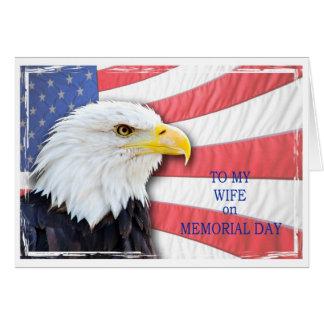 Carte Épouse, Jour du Souvenir, avec un aigle chauve et