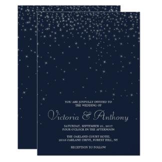 Carte Épouser élégant d'étoiles filantes de marine et