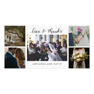 Carte Épouser l'amour de cinq photos et le manuscrit de
