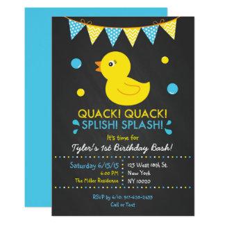 Carte Ęr anniversaire de tableau en caoutchouc de canard