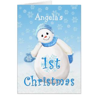 Carte Ęr bonhomme de neige C de salutation de Noël de