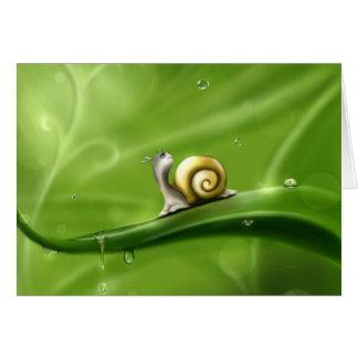 Carte Escargot mignon sous la pluie