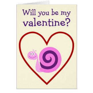Carte Escargot rose et pourpre heureux : Soyez mon