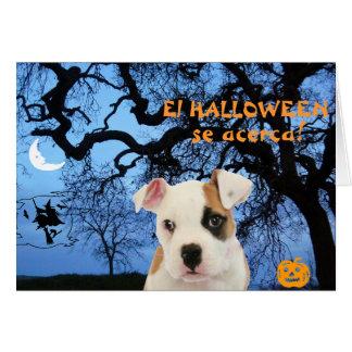 Carte Espagnol : Halloween : Chiot effrayant