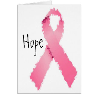 Carte Espoir rose peint de ruban