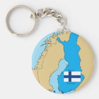 Carte et drapeau de la Finlande Porte-clés