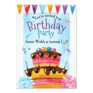 Carte Étamine et confettis colorés de gâteau de fête