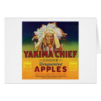 Carte Étiquette vintage de pommes en chef de Yakima