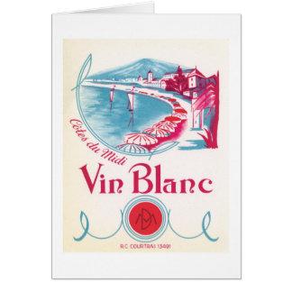 Carte Étiquette vintage de vin de Vin Blanc