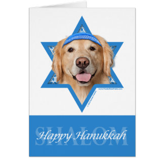 Carte Étoile de David de Hanoukka - golden retriever -