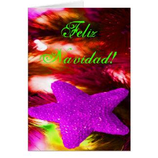 Carte Étoile pourpre de Feliz Navidad de Noël III