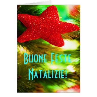 Carte Étoile rouge de Buone Feste Natalizie de Noël