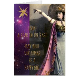 Carte Étoile vintage d'actrice dans Noël est