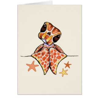 Carte Étoiles de mer de Brown de bébé de tortue de mer