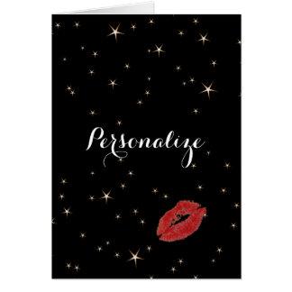 Carte Étoiles fascinantes d'or avec le baiser rouge de