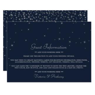 Carte Étoiles filantes élégantes de marine et d'argent