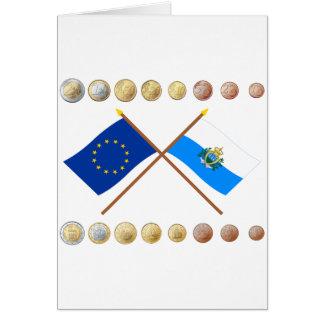 Carte Euros de Sammarinese et drapeaux d'UE et du