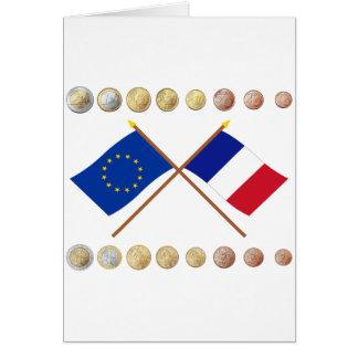 Carte Euros français et drapeaux d'UE et de la France