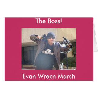 Carte Evan dans un casquette en cuir de cric et de crâne