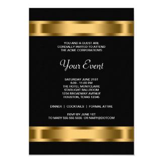 Carte Événement d'entreprise de partie de noir noir d'or