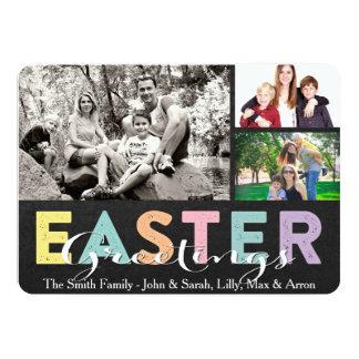 Carte Famille en pastel Pâques de craie saluant trois