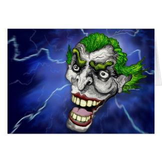 Carte Farceur de joker dans une tempête de foudre par