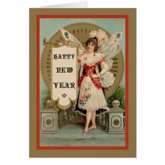 Carte Fée de bonne année avec la trompette et la