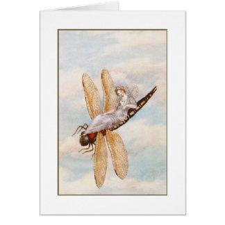 Carte Fée sur une libellule (blanc à l'intérieur)