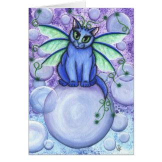 Carte féerique d'art d'imaginaire de chat de bulle