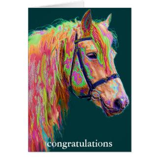 Carte félicitations, beau poney coloré d'arc-en-ciel