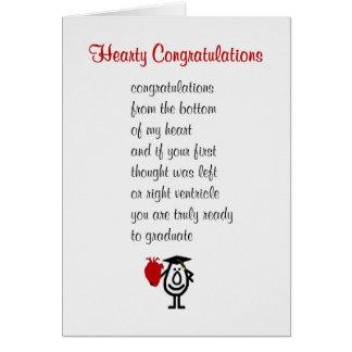 Carte Félicitations chaleureuses - un poème drôle de