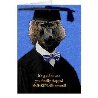 Carte Félicitations drôles de babouin de singe