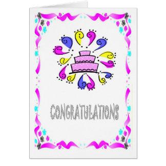 Carte Félicitations, exclamtons de gâteau de mariage