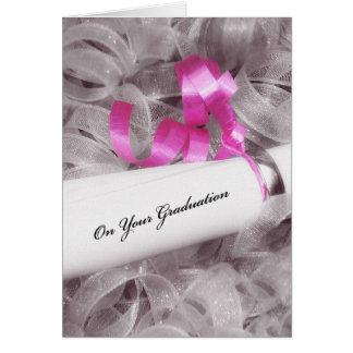 Carte Félicitations Girly d'obtention du diplôme avec le