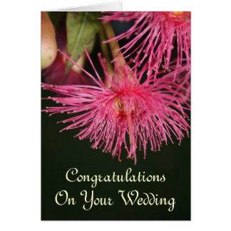 Carte Félicitations roses de mariage de fleur d'arbre de