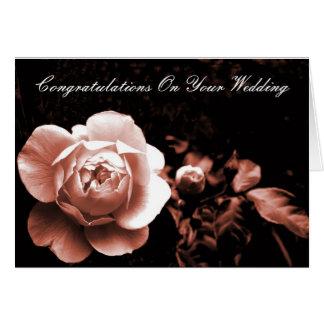 Carte Félicitations roses de pêche sur votre mariage