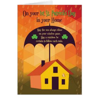 Carte Félicitations sur la nouvelle maison, parapluie