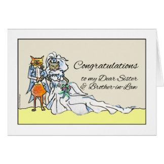 Carte Félicitations sur le mariage pour la soeur, chats