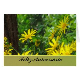 Carte - Feliz Aniversário - margaritas Amarillas