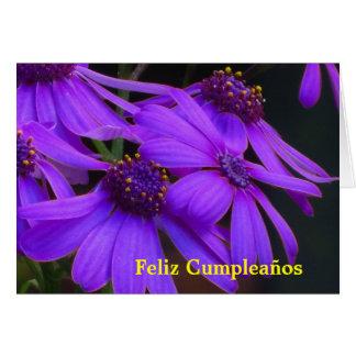 Carte - Feliz Cumpleaños - púrpuras de margaritas