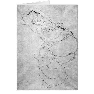 Carte Femelle de Gustav Klimt - de Liegender au-dessus