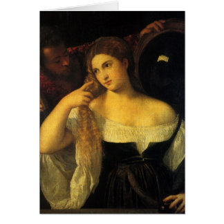 Carte Femme avec un miroir par Titian, la Renaissance