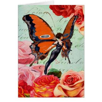 Carte Femme hybride de papillon de Humain-Animal avec