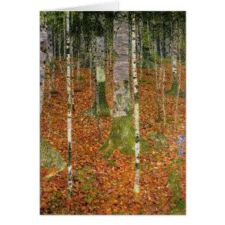 Carte Ferme avec des arbres de bouleau