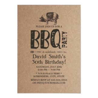 Carte Fête d'anniversaire de BBQ de rôti de porc Papier