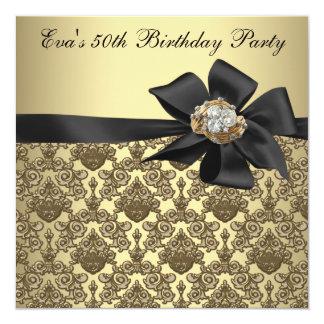 Carte Fête d'anniversaire de damassé noire d'or