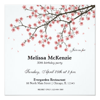 Carte Fête d'anniversaire de fleurs de cerisier